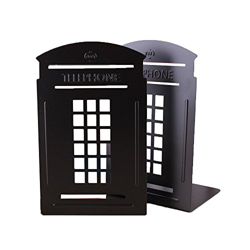 Super44day-Ein-Paar-der-britischen-Art-London-Telefonzelle-Kiosk-Eindickung-Eisenbibliothek-Office-Home-Schule-Studie-Metall-Bookend-Bookends-Schwarz-London-Telefon-Stand