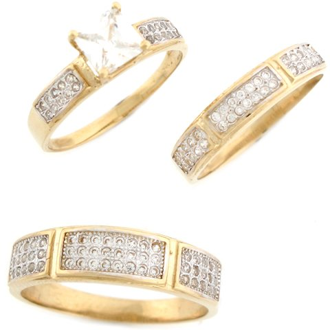 9ct Real Two Colour Gold White CZ Stylish Trio Wedding Engagement Rings