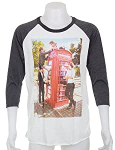 One Direction 1D T-Shirt Size Medium Phone Booth White Gray 3/4 Sleeve Raglan Tee by Madness