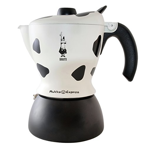Bialetti Mukka Express 2-Cup Cow-Print Stovetop Cappuccino Maker, Black and White (Cappucino And Espresso Maker compare prices)