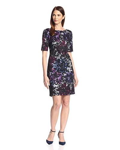 Donna Ricco Women's Lace Overlay Scuba Printed Dress