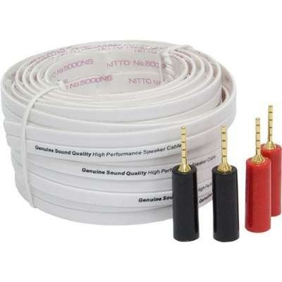 General Electric 30 Feet High Performance Flat Speaker Wire With 2 Pairs Of Speaker Pins
