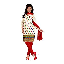 FabDesire Kashish Red Cotton Embroidery Unstitched Dress Material