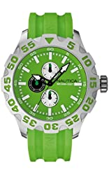 Nautica Men's BFD 100 Multi Green Strap Green Multifunction Dial A15580G