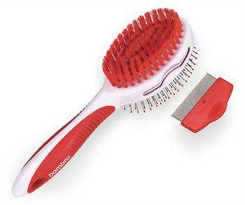 Bamboo Dog Pin Bristle Brush and Flea Comb Colors VaryB0006GD9HY