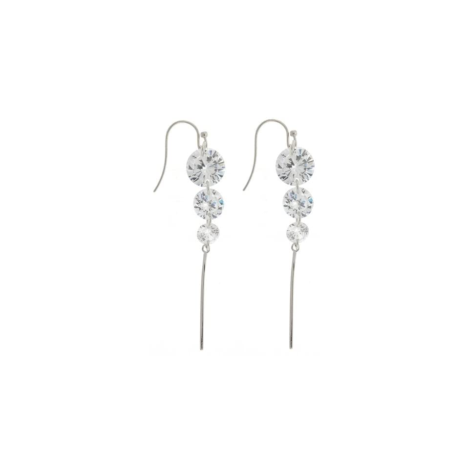 Sterling Silver Dangling Earrings with AAA Quality Clear Cubic Zirconia