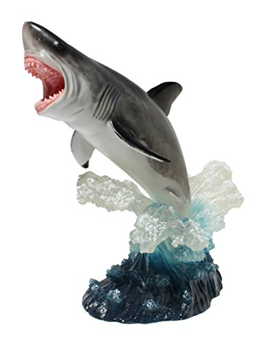 Leaping Great White Shark, Figurine Statue 12 Inch Tall