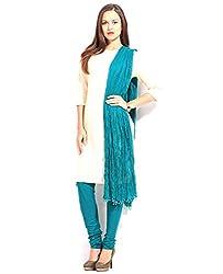 MemSahiba Women Plain Cotton Chudidaar Dupatta Combo (MS-1389_Turquoise)