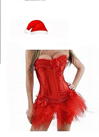 Sexy Miss Santa Red Corset & tutu Christmas Woman Xmas Fancy Dress Outfit /Costume