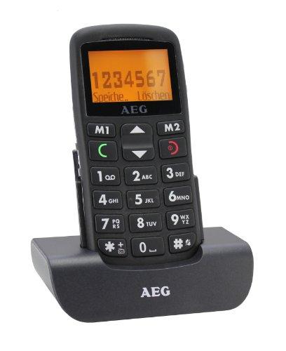AEG VOXTEL M300 GSM Großtasten Mobiltelefon inkl. Tischladestation schwarz
