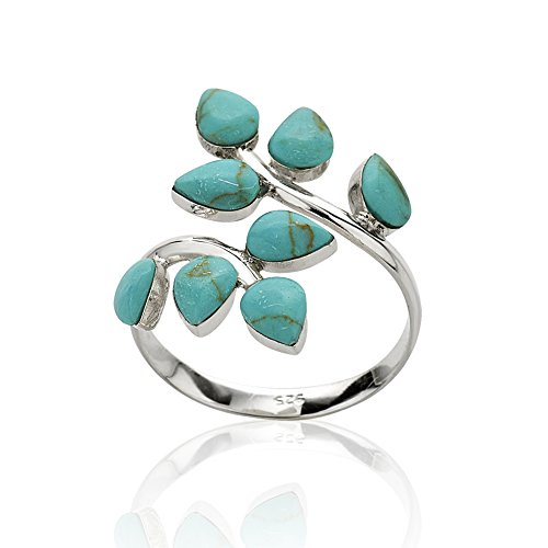 925 Sterling Silver Blue Reconstructed Turquoise Gemstone Leaf Adjustable Ring, Sizes 6-9 (Silver Turquoise Ring compare prices)