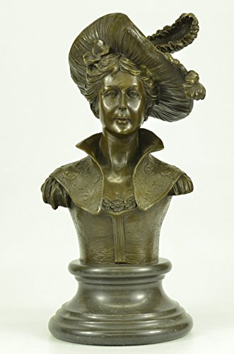 ...Handmade...European Bronze Sculpture Signed Original Large Sexy Female Bust Marble Base Decor(YRD-968-EU)Statues Figurine Figurines Nude Office & Home Décor Collectibles Deal Gifts