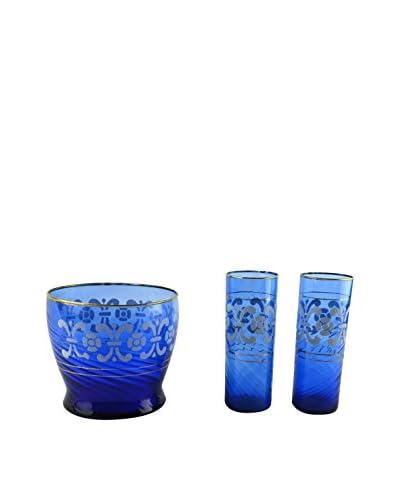 Patina Vie Vintage 3-Piece Ice Bucket Cocktail Set, Cobalt/White/Gold
