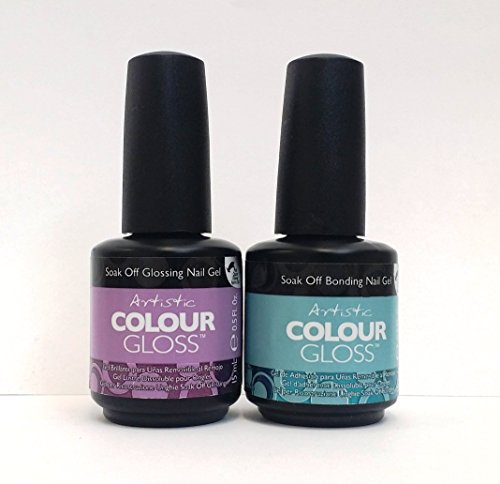 Artistic Nail Design - Colour Gloss Bonding & Glossing Gel Base & Top Coat (New Look) + Buy 2 get FREE 1 Airbrush Stencil (Artistic Gel Polish compare prices)