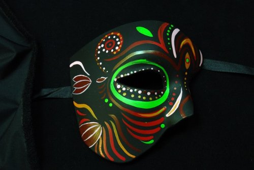 Black Half Face Mexican Sugar Skull Hand-Painted Paper Mache Mask