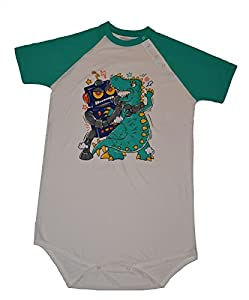Robot Vs Dinosaur Adult Baby Onesie by Cushy Bums Clothiers ABDL Diaper Lover from Cushy Bums Clothiers