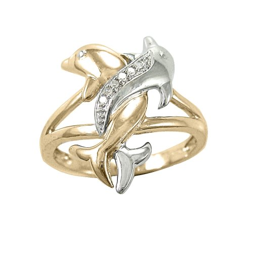 two tone gold diamond accent intertwined dolphin ring 10k gold ring - Dolphin Wedding Rings