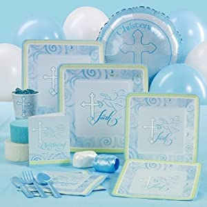 Costumes 190896 Faithful Dove Blue Christening Standard Party Pack