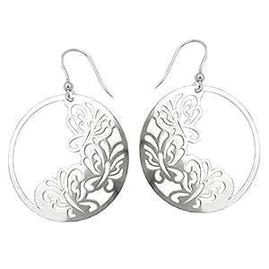 Bijoux Boucles d'oreilles argent 925 papillons 53 x 37 mm