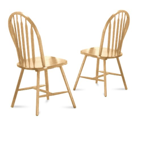 2 Natural Finish Arrow Back Dining Chairs