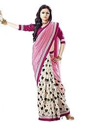 Nistula Floral Print Bhagalpuri Saree With Unstitched Blouse Material [Light Pink] | Lavanya25004