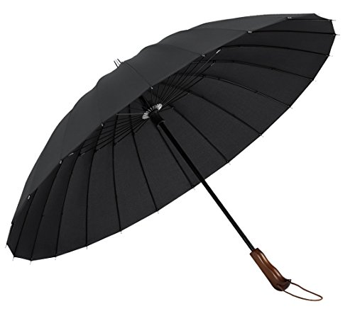 PLEMO 長傘 高強度24本傘骨 新強化グラスファイバー採用 耐風傘 撥水加工 ブラック 103センチ