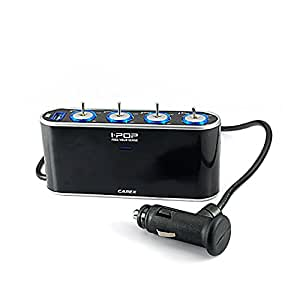 4-Way 12V 24V DC Car Socket Extender Charger Adapter With USB Port & Indivdual Switch