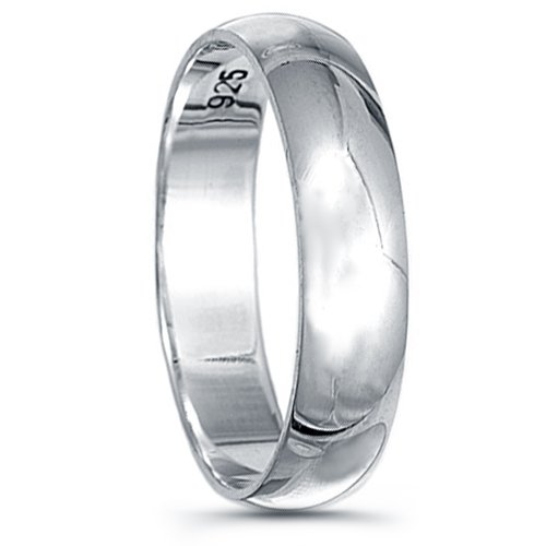 925 Sterling Silver Plain Wedding Band - 5mm