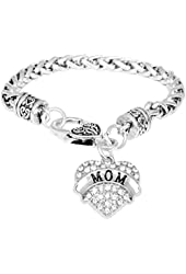 Mother's Day Gift for Mom Bracelet Engraved Gift Jewelry For Mom Crystal Adorned Heart Shaped Pendant Lobster Claw Bracelet Gift for Mom or Grandma