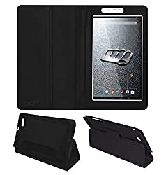 Acm Executive Leather Flip Case For Micromax Canvas Tab P470 Tablet Front & Back Flap Cover Stand Holder Black