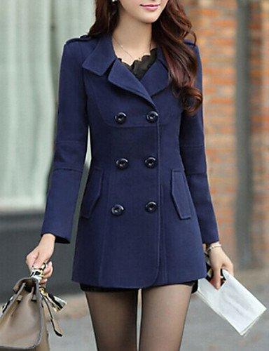 Donna cappotto Vintage, solido collare della camicia a manica lunga Winter blu / rosso / giallo / Lana / Cotone / Altri di spessore,rosso scuro,XL