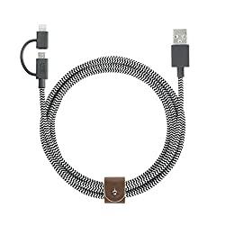 Native Union BELT Twin Head - 2 Meter Charging/Sync Braided Cable with Integrated 2-in-1 Adaptor for All Apple Lightning and Micro-USB Devices (Zebra)