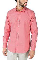 Bewakoof.com Desert Pink Slim Fit Full Sleeve Men's Casual Shirts