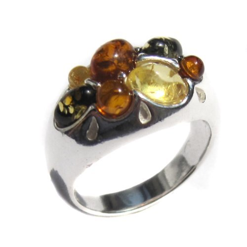 Multicolor Amber and Sterling Silver Designer Ring