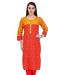 BPT Stylish Orange Printed Cotton Women's Kurti ( Size M / 38