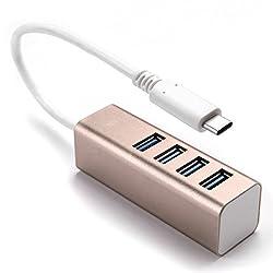 Seenda Portable Aluminum 4-port USB 3.0 Mac Os X Supper Speed 5gbqs HUB (Golden)