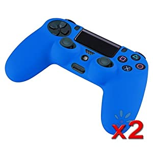 Everydaysource Compatible with Sony PlayStation PS4 2 x Blue Silicone Controller Case