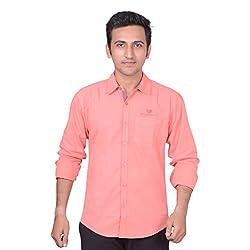 Anry Men's Casual Shirt (NPNK4100_Pink_XL)