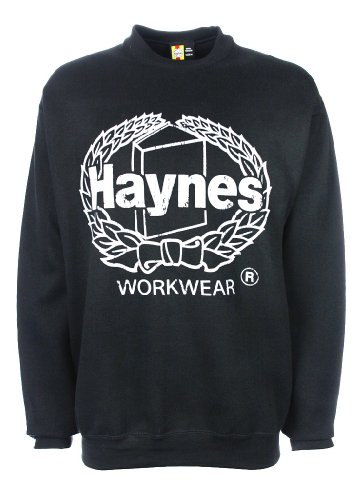 Haynes Work Wear Mens Heavyweight Brushed Fleece Printed Crewneck Sweatshirt