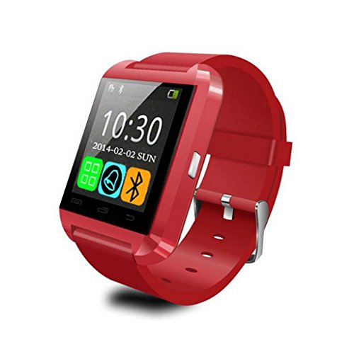 Luxsure® Smart Watch Uwatch Bluetooth Smartwatch for Android IOS System Mobile Phone (U8-Red)