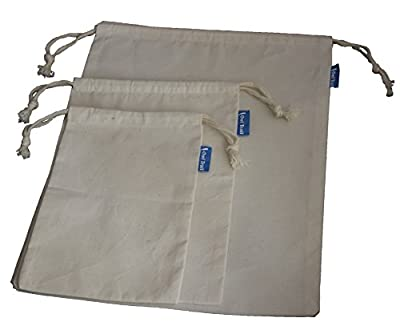 Owl Trail Organic Muslin Cotton Reusable Produce Bags 6 Pack (2l, 2m, 2s)