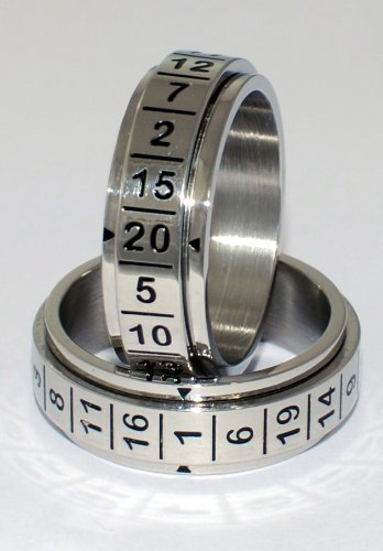 D-20 Spinner Dice Ring. Stainless Steel, Even Odds for All Numbers, Replaces D-20 Dice for Gaming (12)