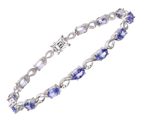 0.13 Carat I Diamond with Tanzanite 4 Claw Setting Link Bracelet in 9ct White Gold