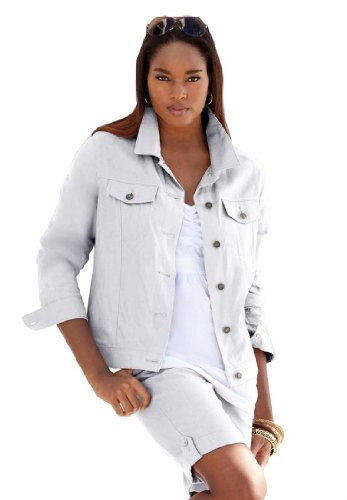 Jessica London Women's Plus Size Linen Jacket White,14