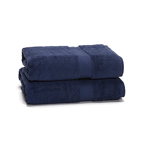 Egyptian Cotton Towel Set - 2-Piece 900 GSM - Heavy Weight & Absorbent by ExceptionalSheets, Navy Blue (Turkish Bath Sheet 900 Gsm compare prices)