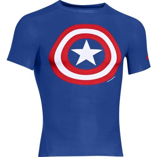 Under Armour® Men's Captain America Alter Ego Compression Shirt, Captain America/Royal/Red, Large