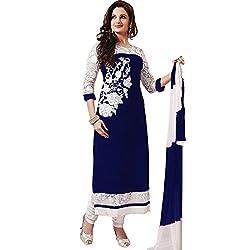 Prachi Silk Mills Women`s Georgette Embroidered Semi-stitched Salwar Suit Dupatta Material(Blue)