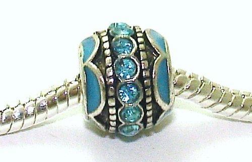Aqua Blue - Enamel & Crystal Spacer - Silver Plated Charm Bead - fits Pandora, Chamilia etc style Bracelets - SpangleBead