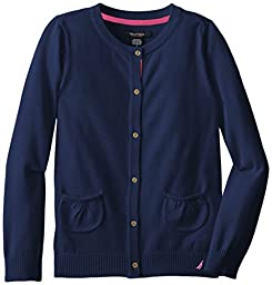 Nautica Big Girls\' Jersey Sweater with Pockets, Medium Navy, 10