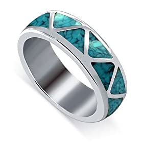 Turquoise Gemstone Inlay 6 MM Band Sterling Silver Ring
